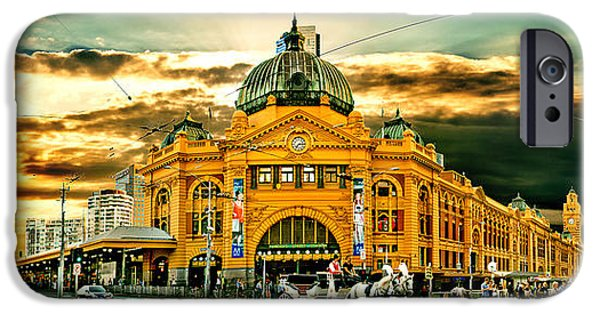 Ornate iPhone Cases - Busy Flinders St Station iPhone Case by Az Jackson