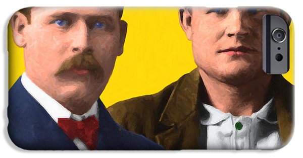 Butch Cassidy iPhone Cases - Butch Cassidy and The Sundance Kid 20130512 v2 square iPhone Case by Wingsdomain Art and Photography