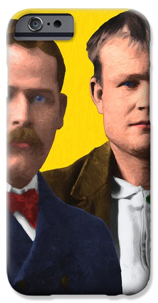 Butch Cassidy iPhone Cases - Butch Cassidy and The Sundance Kid 20130512 v2 vertical iPhone Case by Wingsdomain Art and Photography