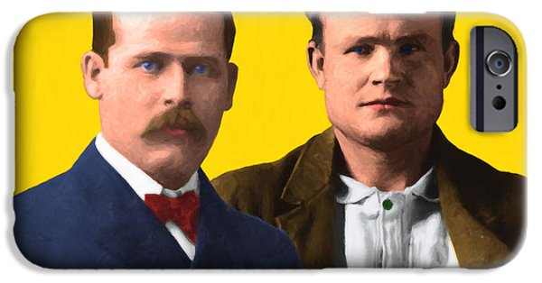 Butch Cassidy iPhone Cases - Butch Cassidy and The Sundance Kid 20130512 v2 iPhone Case by Wingsdomain Art and Photography