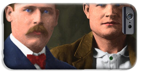 Butch Cassidy iPhone Cases - Butch Cassidy and The Sundance Kid 20130512 v3 square iPhone Case by Wingsdomain Art and Photography