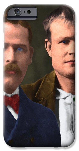 Butch Cassidy iPhone Cases - Butch Cassidy and The Sundance Kid 20130512 v3 vertical iPhone Case by Wingsdomain Art and Photography