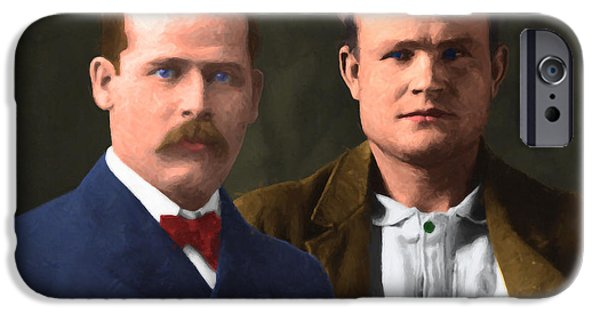 Butch Cassidy iPhone Cases - Butch Cassidy and The Sundance Kid 20130512 v3 iPhone Case by Wingsdomain Art and Photography
