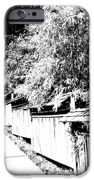 Bamboo Fence iPhone Cases - Butchart Gardens Fence Image iPhone Case by Paul Price