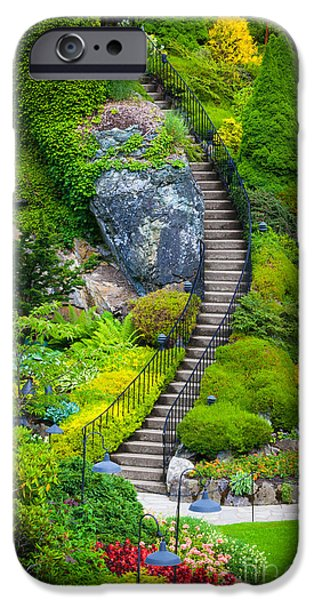 Pathway iPhone Cases - Butchart Gardens Stairs iPhone Case by Inge Johnsson