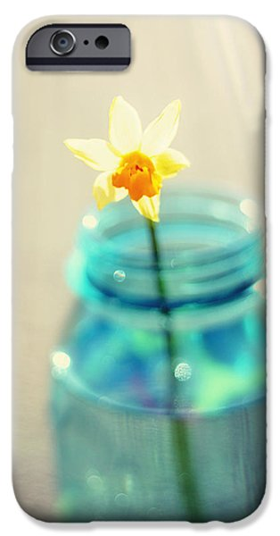 Buttercup Photography - Flower in a Mason Jar - Daffodil Photography - Aqua Blue Yellow Wall Art  iPhone Case by Amy Tyler