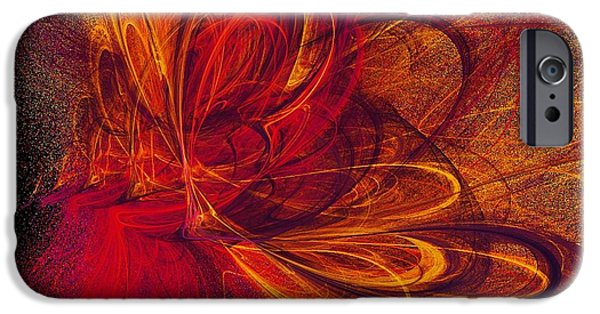 Fractals Fractal Digital Art iPhone Cases - Butterfire iPhone Case by Sharon Lisa Clarke