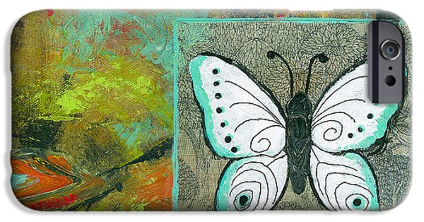 Abstract Expressionist Mixed Media iPhone Cases - Butterflies Are Free iPhone Case by Blenda Studio