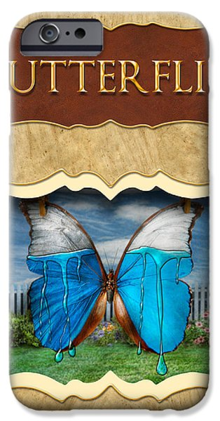 Butterflies button iPhone Case by Mike Savad