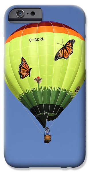 Hot Air Balloon Digital iPhone Cases - Butterflies  iPhone Case by Mike McGlothlen