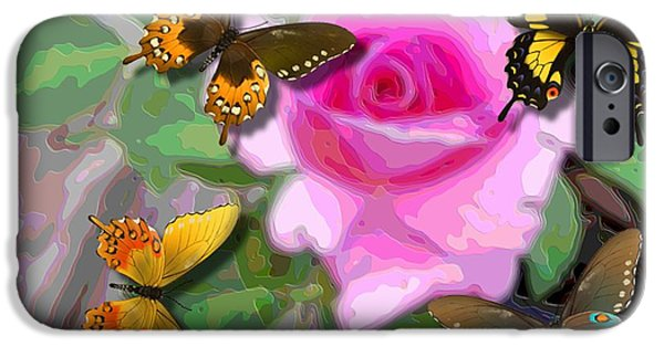 Flies Mixed Media iPhone Cases - Butterflies On Pink Potted Rose Upsized  iPhone Case by L Brown