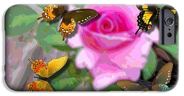 Flies Mixed Media iPhone Cases - Butterflies on Pink Potted Rose Small Teal Border Upsized iPhone Case by L Brown