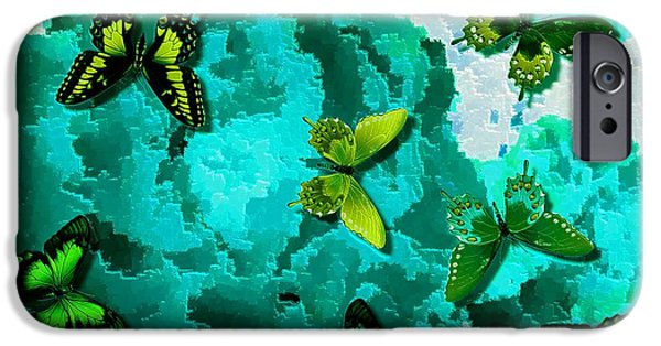 Flies Mixed Media iPhone Cases - Butterflies On Teal Roses iPhone Case by L Brown