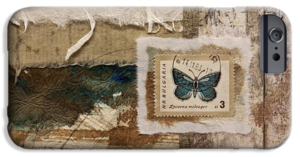 Collage iPhone Cases - Butterfly and Blue Collage iPhone Case by Carol Leigh