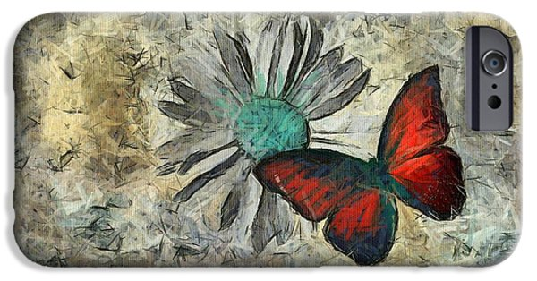 Variant iPhone Cases - Butterfly and Daisy - ftd01t01 iPhone Case by Variance Collections