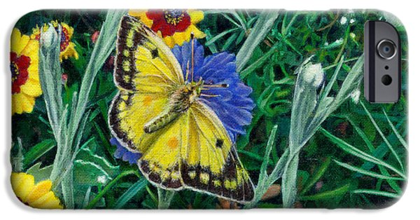 Garden Scene Paintings iPhone Cases - Butterfly and Wildflowers spring Floral garden floral in green and yellow - Square Format Image iPhone Case by Walt Curlee