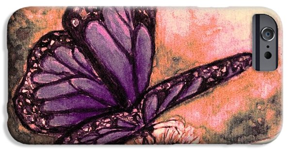 Garden Scene Paintings iPhone Cases - Butterfly at Sunset iPhone Case by Hazel Holland