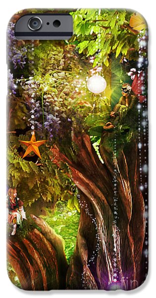 Surreal Illustration Digital iPhone Cases - Butterfly Ball Tree iPhone Case by Aimee Stewart