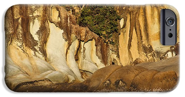 Whitsunday iPhone Cases - Butterfly Bay Rock formations iPhone Case by Debbie Cundy