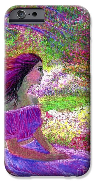 Beautiful Faces Paintings iPhone Cases - Butterfly Breezes iPhone Case by Jane Small