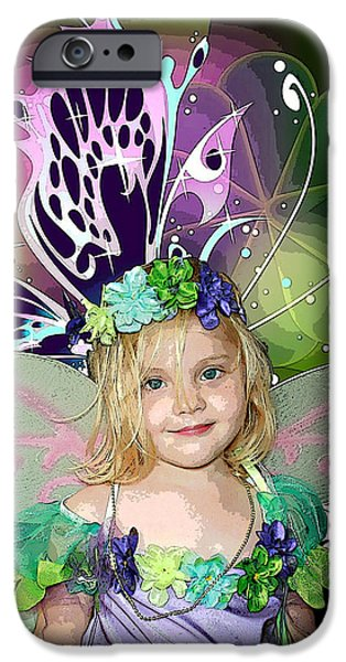 Little Girl Mixed Media iPhone Cases - Butterfly Fairy iPhone Case by Ellen Henneke