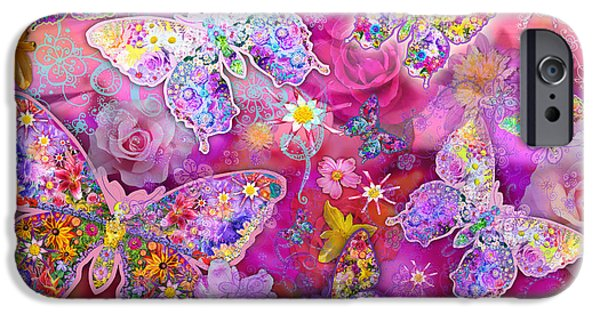Composite iPhone Cases - Butterfly Flower Land iPhone Case by Alixandra Mullins