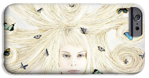 Lindalees iPhone Cases - Butterfly girl iPhone Case by Linda Lees
