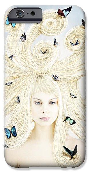 Linda Lees iPhone Cases - Butterfly girl iPhone Case by Linda Lees