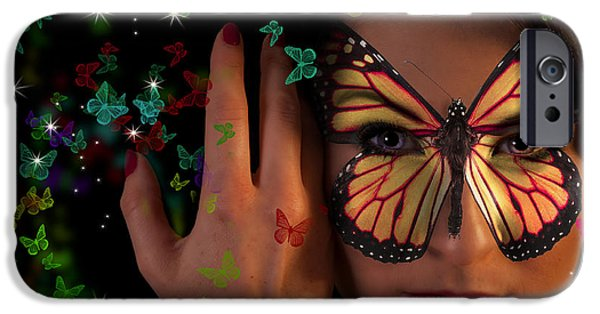 Hairstyle Digital iPhone Cases - Butterfly girl iPhone Case by Nathan Wright