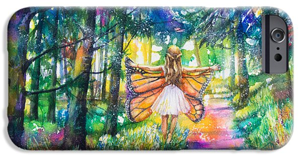 Little Girl Mixed Media iPhone Cases - Butterfly Girl iPhone Case by Patricia Allingham Carlson