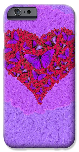 Nature Abstracts iPhone Cases - Butterfly Heart iPhone Case by Alixandra Mullins