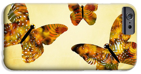 Rollo Digital Art iPhone Cases - Butterfly Kisses iPhone Case by Christina Rollo