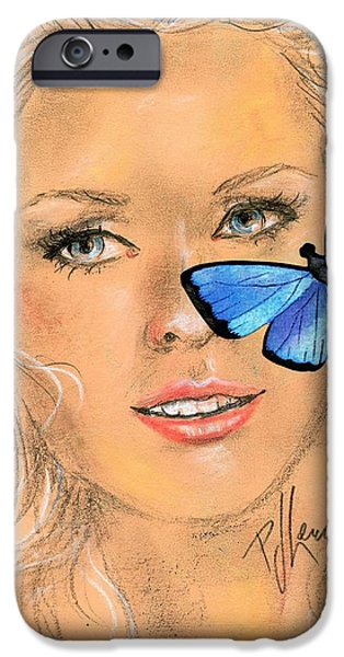 Young Mixed Media iPhone Cases - Butterfly kisses iPhone Case by P J Lewis