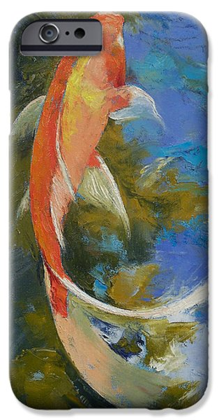 Michael Paintings iPhone Cases - Butterfly Koi Painting iPhone Case by Michael Creese