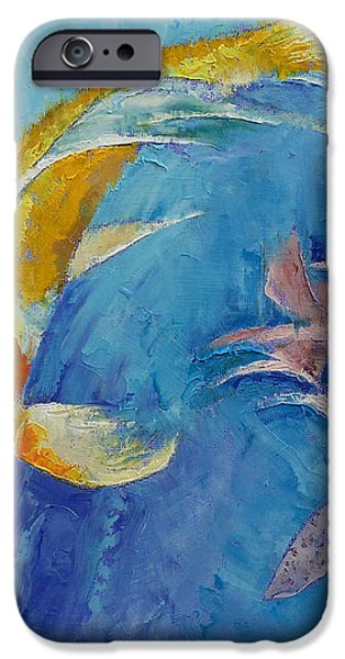 Butterfly Koi with Orchids iPhone Case by Michael Creese