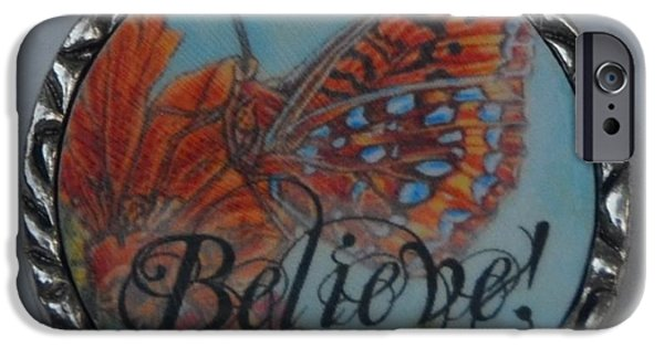 Animals Jewelry iPhone Cases - Butterfly Lights Upon A Tiger Lily in A Resin Necklace  iPhone Case by Kimberlee  Baxter