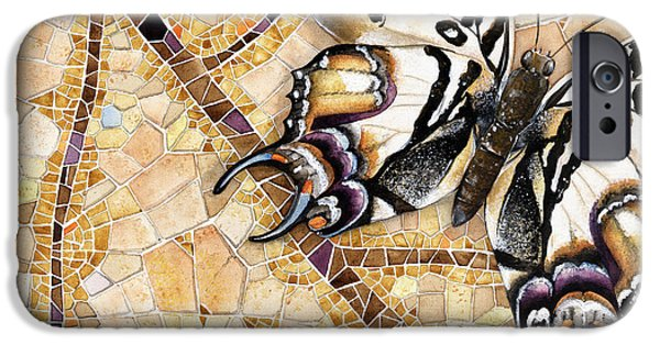 Fabulous Gifts iPhone Cases - Butterfly mosaic 01 Elena Yakubovich iPhone Case by Elena Yakubovich