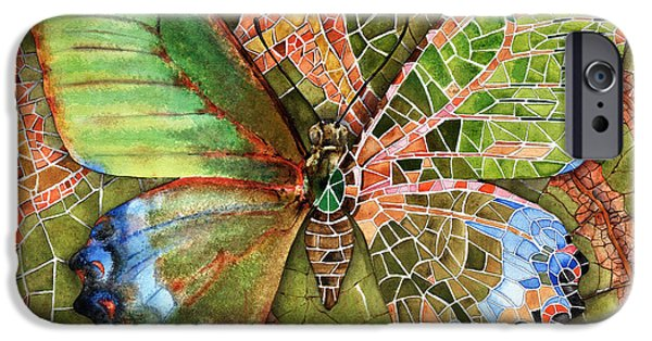 Mosaic Drawings iPhone Cases - BUTTERFLY MOSAIC 03 Elena Yakubovich iPhone Case by Elena Yakubovich