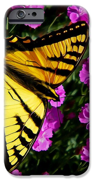 Floral Digital Art Digital Art iPhone Cases - Butterfly on Pink iPhone Case by Bill Caldwell -        ABeautifulSky Photography