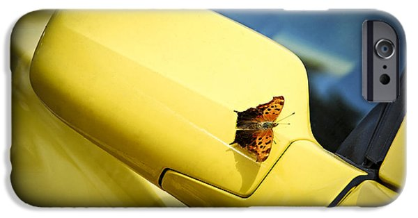 Cars iPhone Cases - Butterfly on sports car mirror iPhone Case by Elena Elisseeva
