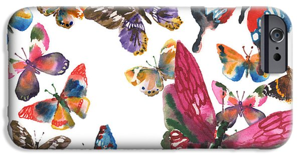 Butterfly iPhone Cases - Butterfly Painting iPhone Case by Alison Fennell