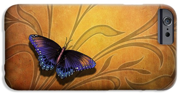 Filigree iPhone Cases - Butterfly Pause V2 iPhone Case by Bedros Awak