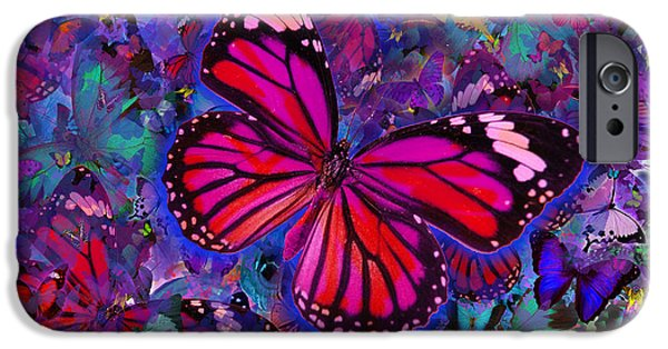 Abstract Digital iPhone Cases - Butterfly Red Explosion iPhone Case by Alixandra Mullins