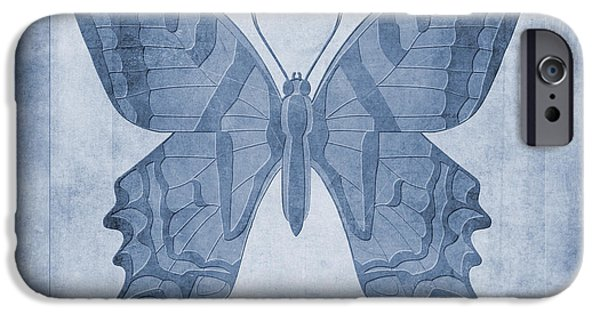 Fauna Digital Art iPhone Cases - Butterfly Textures Cyanotype iPhone Case by John Edwards