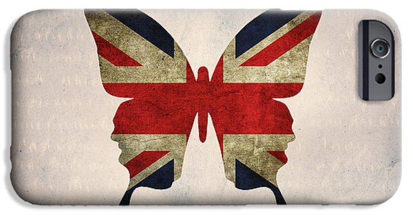 Union Digital Art iPhone Cases - butterfly Union and Jack iPhone Case by Steffi Louis