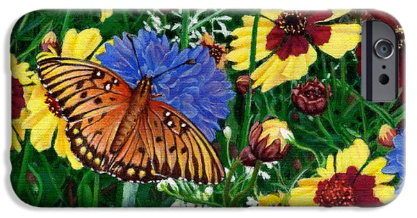 Garden Scene Paintings iPhone Cases - Butterfly Wildflowers garden Floral - Square Format Image - spring decor - green blue orange-2 iPhone Case by Walt Curlee