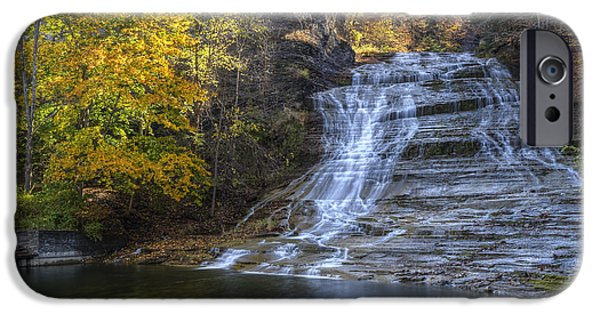 Buttermilk Falls iPhone Cases - Buttermilk Falls Autumn iPhone Case by Colin D Young