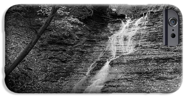 Buttermilk Falls iPhone Cases - Buttermilk Falls Black and White iPhone Case by Clint Buhler