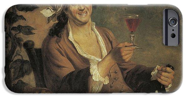 Glass Of Wine Paintings iPhone Cases - Buveur de vin iPhone Case by Etinne Jeaurat
