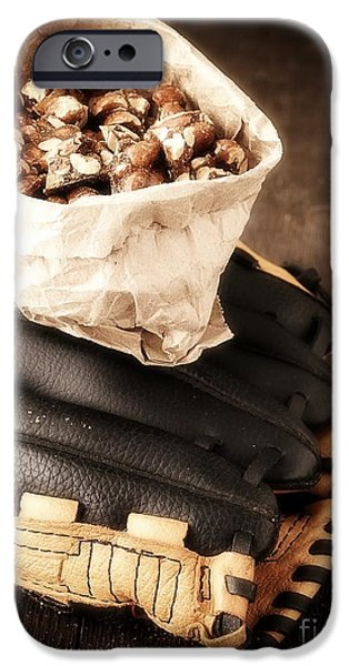 Baseball Glove iPhone Cases - Buy Me Some Peanuts and Cracker Jack iPhone Case by Edward Fielding